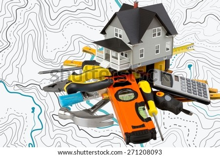 House. Residential house on top of architect blueprints - stock photo