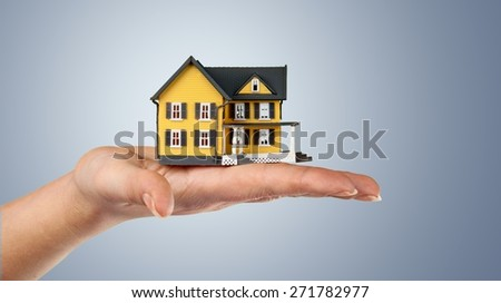 House, Residential Structure, Human Hand. - stock photo