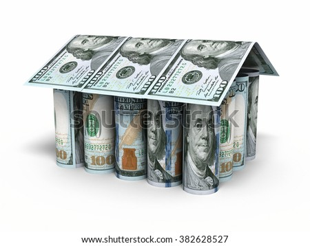House shaped New Hundred dollar roll banknotes closeup (isolated ) - stock photo