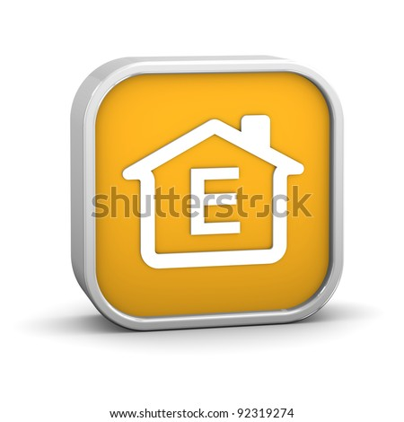 House Sign with E energy performance classification - stock photo