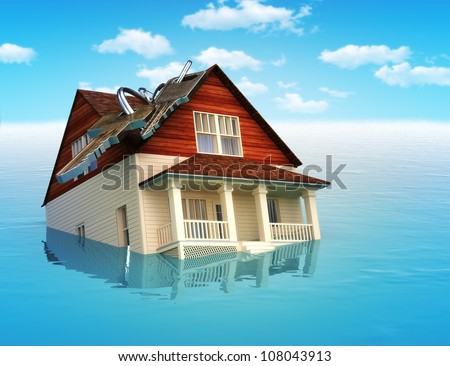 House sinking in water ,real estate housing crisis,flooding, ect. concept - stock photo