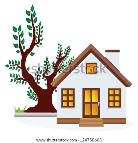 House. Spring. Raster version. Vector in my portfolio - stock photo