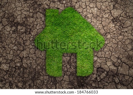 House symbol in the form of grass amid drought  - stock photo