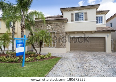 House that is available for rent in nice neighborhood - stock photo