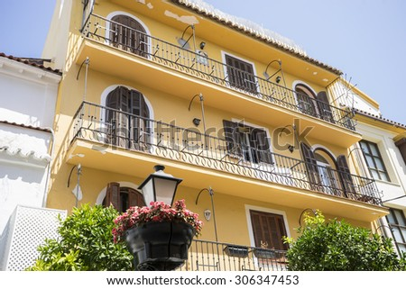 house typical of Andalusian architecture of Marbella, Spain - stock photo