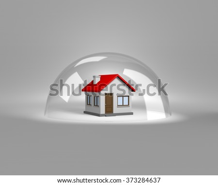 House under a Glass Shield 3D Illustration, Protection Concept - stock photo