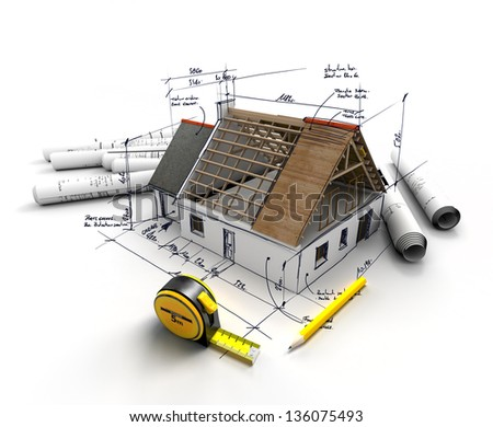 House under construction on top of blueprints with handwritten notes and measures - stock photo