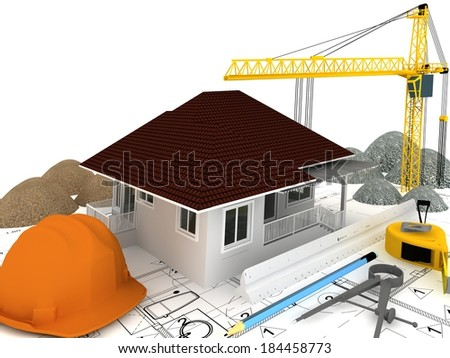 house under construction  with a crane and other building fixtures on top of blue print,3d render - stock photo