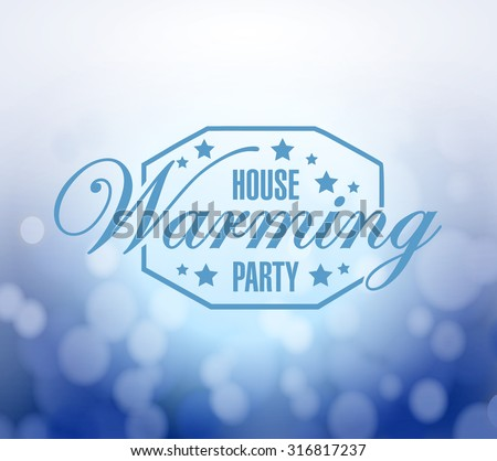 house warming party bokeh background sign illustration design graphic - stock photo