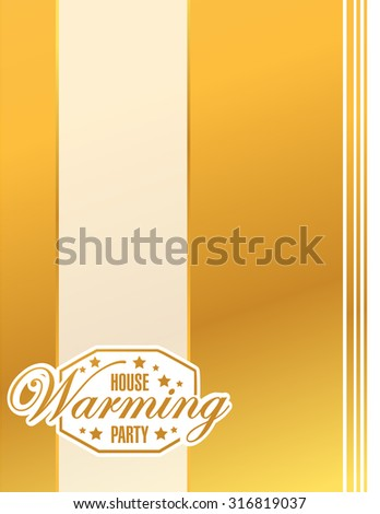 house warming party gold card background sign illustration design graphic - stock photo