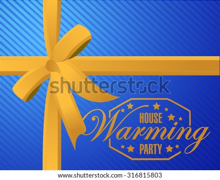 house warming party ribbon background sign illustration design graphic - stock photo