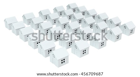 House white small models, isolated, 3d illustration, horizontal - stock photo
