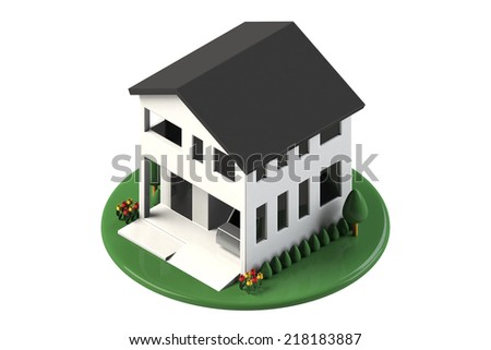 House with a garage - stock photo
