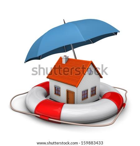 House with blue umbrella and lifebelt. White background. - stock photo