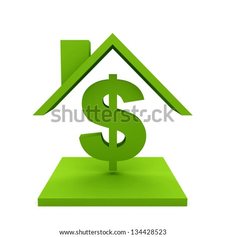 House with dollar sign - stock photo