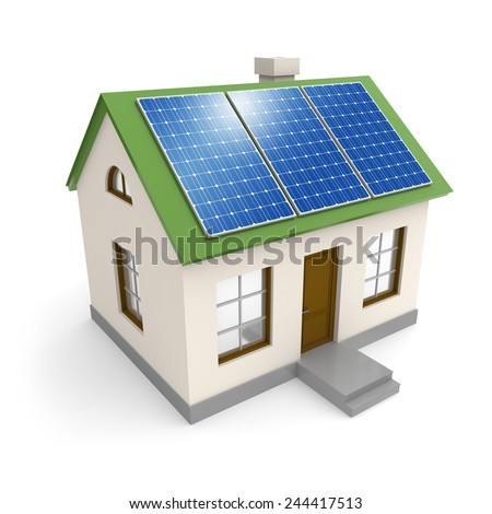 House with electricity solar panels on a roof. Green environment ecology and alternative power industry concept - stock photo