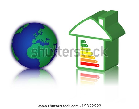 house with energy classification and earth - stock photo