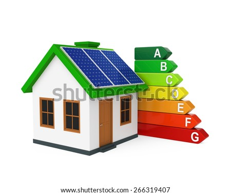 House with Energy Efficiency Level - stock photo
