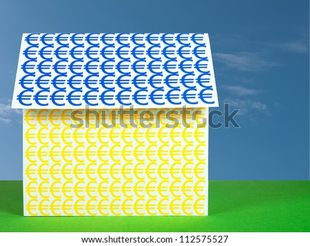 House with Euros - Europe mortgage, investment concept - stock photo