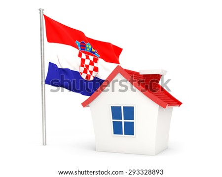 House with flag of croatia isolated on white - stock photo