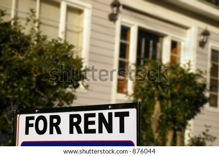 "House  with ""For Rent"" sign - stock photo"