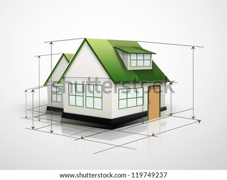 house with measurement lines on a light background - stock photo