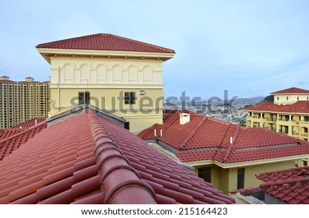 House with new roof - stock photo