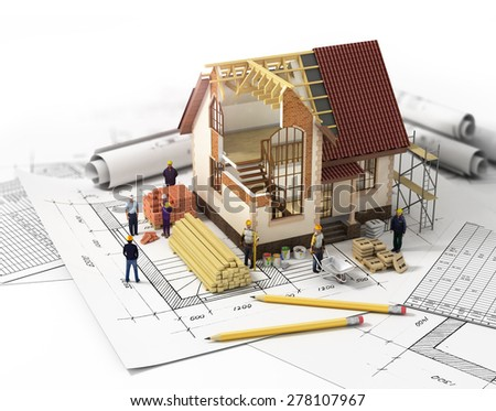 House with open interior on top of blueprints, documents and mortgage calculations and workers. Construction concept. - stock photo