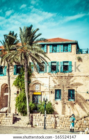 House with palms in Jaffa, a southern oldest part of Tel Aviv - Jaffa - stock photo