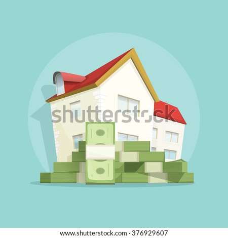 House with pile of money, home real estate symbol, concept of housing bill growth banner, investment, mortgage, house loan, account, banking, outlay expenses modern poster design isolated image - stock photo