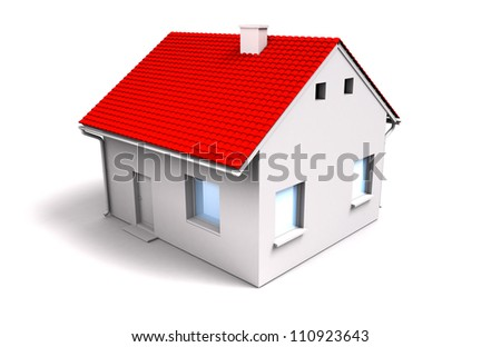 house with red roof - stock photo