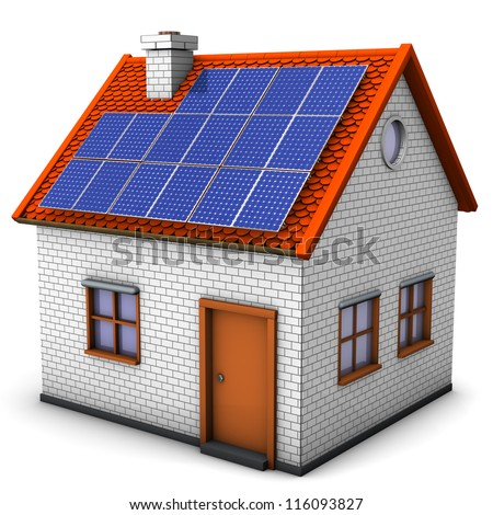 House with solar panels on the white background. - stock photo