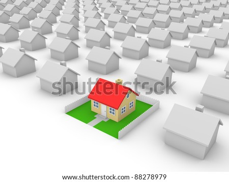 House with yard - stock photo