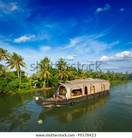 Houseboat on Kerala backwaters. Kerala, India - stock photo