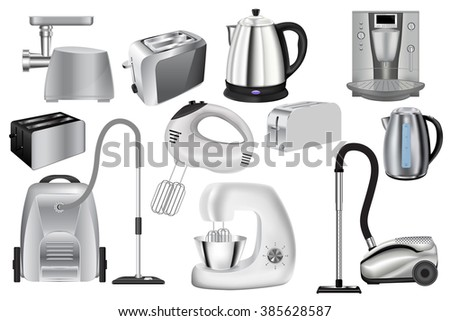 Household appliance: grinder, kettle, coffee maker, toaster. Illustration isolated on white background. Raster version - stock photo