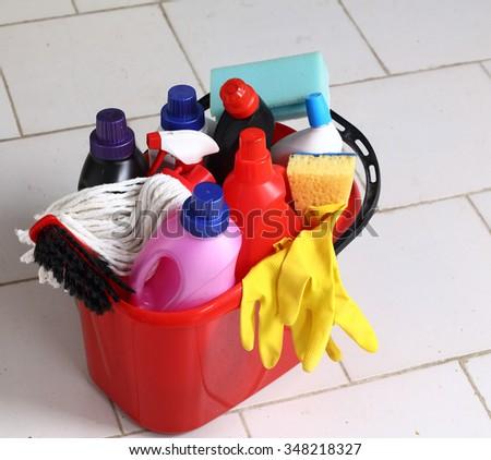 Household chemical goods for cleaning  - stock photo