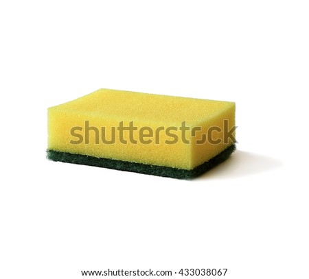 household cleaning sponge for washing dishes isolated on white - stock photo