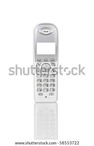 Household cordless telephone isolated on white - stock photo