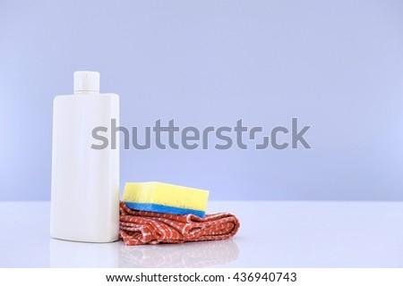 Household dishwashing items - stock photo