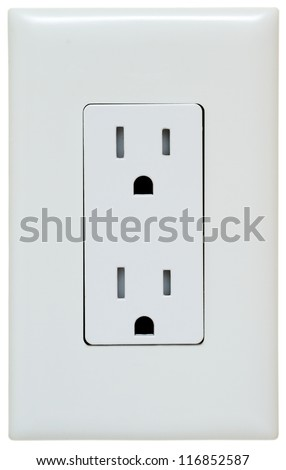 Household Electrical Outlet  isolated on white. Power 110v - stock photo