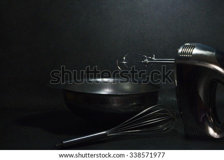 Household stainless steel mixer - stock photo