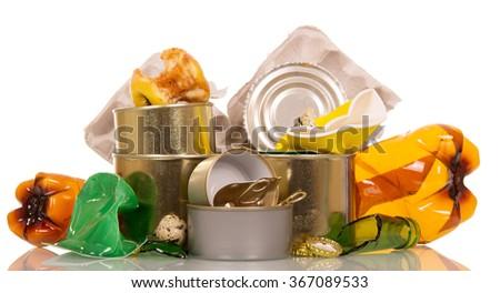Household waste, trash isolated on white background - stock photo