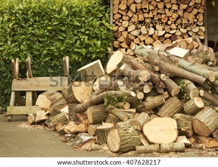 Household woodpile with log store, green hedge and saw-horse. - stock photo