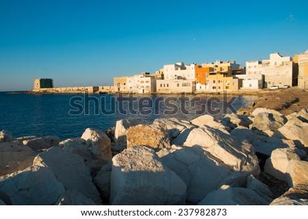 Houses along the sea in Trapani, Sicily, Italy - stock photo