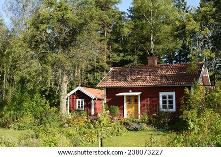 Houses and environment in Sweden - stock photo