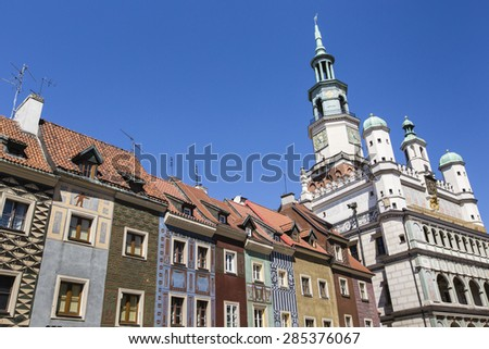 Houses and Town Hall in Old Market Square, Poznan, Poland - stock photo