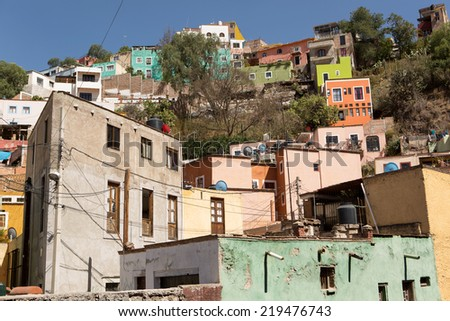 Houses built on steep hill in the historic world heritage town of Guanajuato,Mexico - stock photo