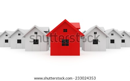 Houses business concept one is red - stock photo