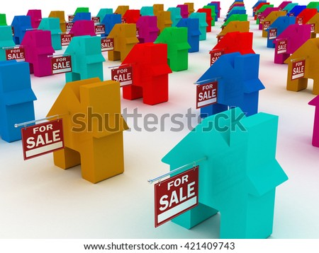 Houses colored  for sale, 3D rendering - stock photo