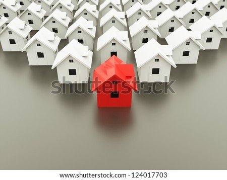 Houses concept one is red - stock photo